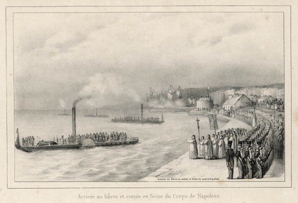 The remains of Napoleon I return to France, arriving at the harbour and mouth of the Seine on their way to Paris