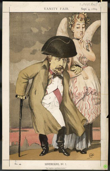 LOUIS NAPOLEON III depicted as a tired and enfeebled old man, dubiously supported by France