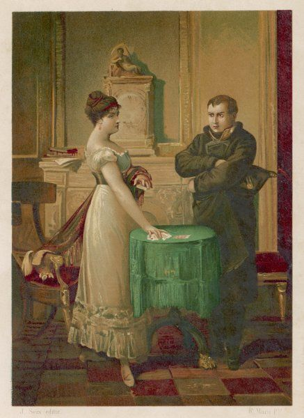 Napoleon consults the celebrated fortune-teller, Madame Lenormand, who accurately foresees his destiny