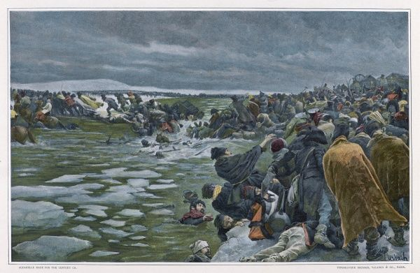 The retreating French attacked as they try to cross the Berezina river ; after the thaw, 36,000 bodies were recovered