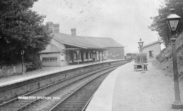 View of a deserted Narberth Railway Station on the Great Western Railway, Pembrokeshire, Dyfed, South Wales