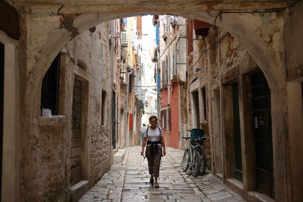 A narrow street in the old part of the town of Rovinj, on the western coast of Istria, Croatia