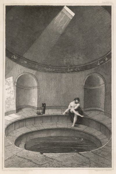 A reconstruction of the 'natatio' bath (cold swimming bath) at Pompeii
