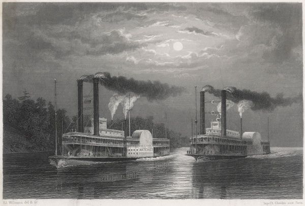 A race between the two paddlesteamers 'Natchez' and 'Eclipse' on the Mississippi