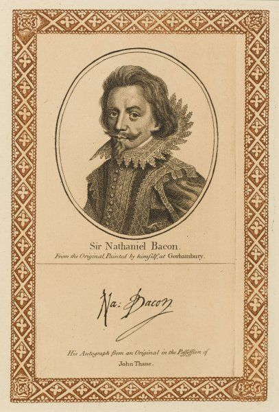 SIR NATHANIEL BACON aristocrat who painted for his amusement but was considered equal to leading professionals with his autograph