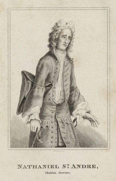 "Undated upper body engraving of Nathaniel St Andre, ""Rabbit Doctor&quot"