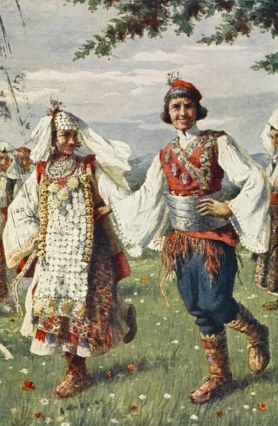 The 'Kolo' or 'Vrlika' - the National Dance of Croatia, being performed by two peasants in full traditional costume. Date: 1938