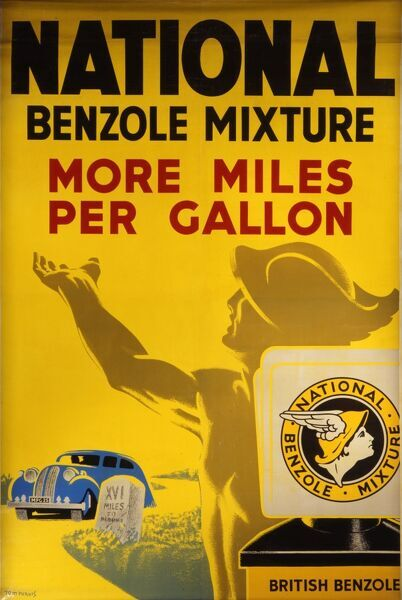 National petrol advert for the National benzole mixture which gives more miles per gallon