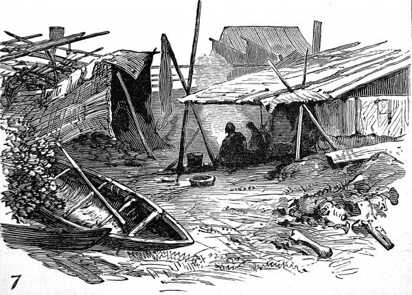 Illustration showing the wooden shacks and canoes of a native American Indian encampment by the Fraser River, British Columbia, Canada, 1882