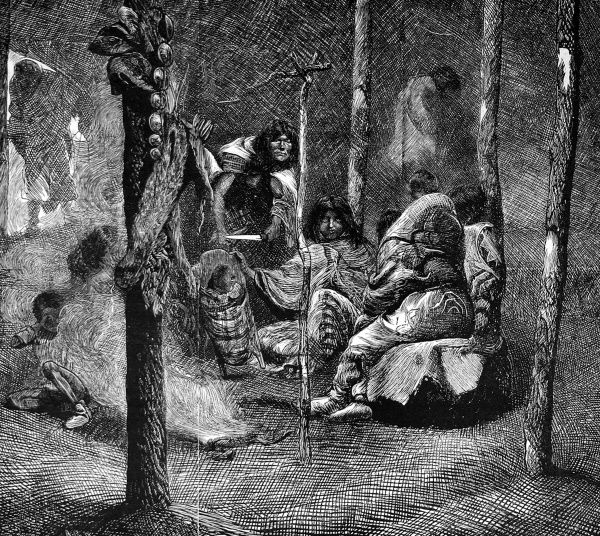 Illustration of Pawnee Native American Indian women (squaws) seen inside a wigwam, with a baby in a papoose