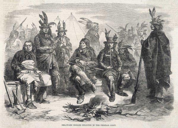 I dare say most native Americans hoped the North and South will exterminate each other, but some take sides - these Delaware warriors have enlisted in the Federal army