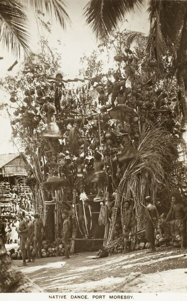 Native Dancers dancing amongst the breadfruit at Port Moresby - Papua New Guinea
