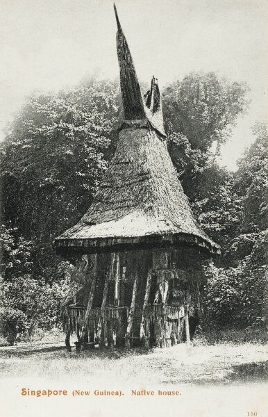 Native House - Singapore (then part of 'New Guinea'), with a distinctive high pointed roof