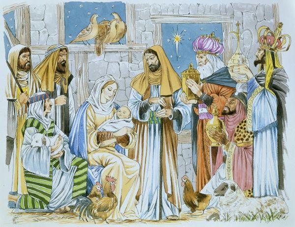 A Christmas Nativity scene, with the Three Kings bearing gifts for the Baby Jesus