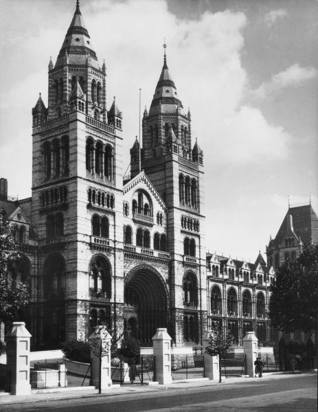 A view of the front of the Natural History Museum, London