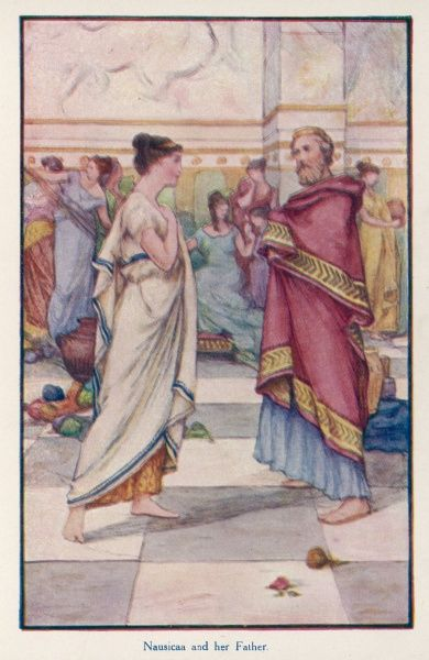 Nausicaa tells King Alcinous, her father, that she and her maids must wash her brothers' clothes in order to increase their chances of finding suitable brides