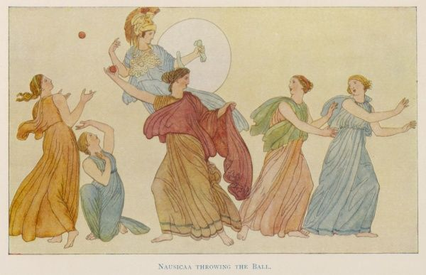 Nausicaa and her handmaids, playing ball on the beach, shortly before they discover Odysseus (Ulysses)