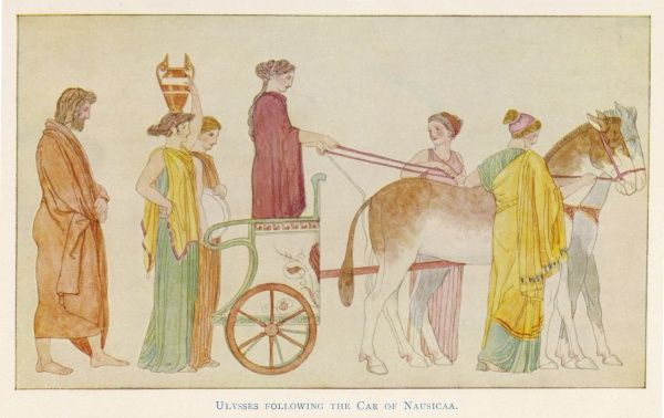 Odysseus follows the chariot of Nausicaa and her maids