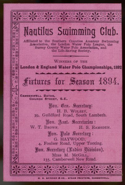 Fixture card of the Nautilus Swimming Club, a London club based at Camberwell Baths in south-east London. (see two subsequent items for their 1891 river picnic)