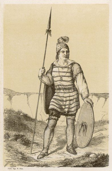 Navaho chief with spear and shield, in surprisingly European-like dress