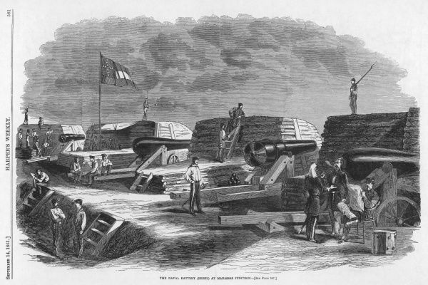 A Confererate naval battery at Manassas Junction, Virginia