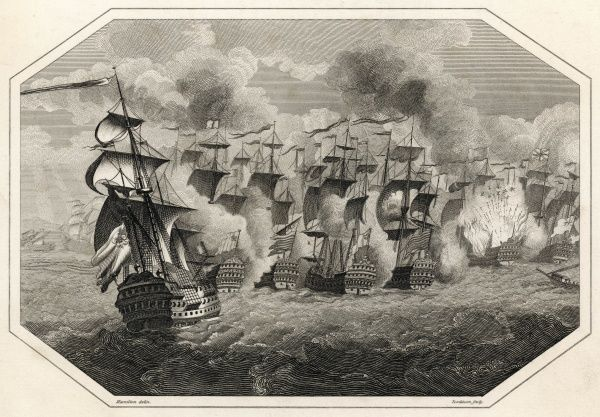 BATTLE OF LA HOGUE / BARFLEUR The British/Dutch fleet under Russel and Almonde defeats the French fleet under de Tourville ; Rooke destroys 15 French vessels