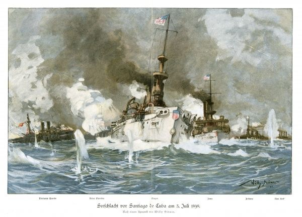 NAVAL BATTLE OF SANTIAGO U S warships 'Oregon' and 'Iowa' under heavy fire from the Spanish