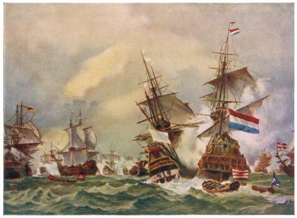NAVAL BATTLE OFF TEXEL A French fleet commanded by Jean Bart defeats a Dutch and English fleet, under Admiral de Frise