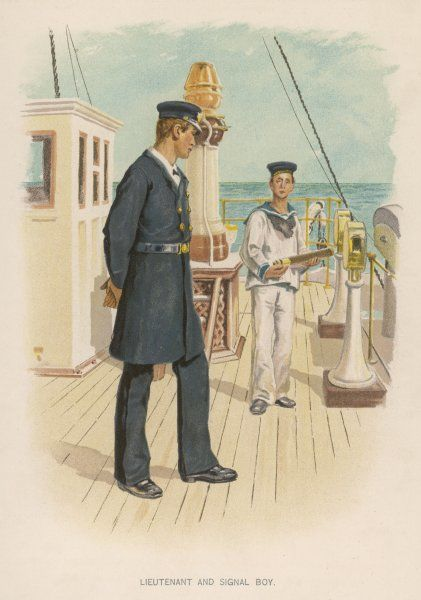 A Lieutenant and a Signal Boy who holds a telescope to help make out the flags on distant ships