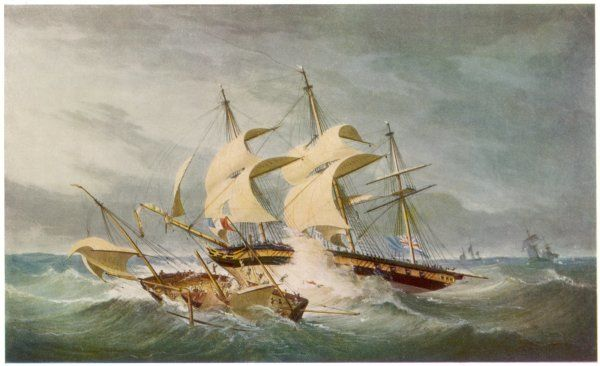 NAVAL ACTION During a gale, off Beachy Head on the south coast of England, the British warship 'Hermes' rams the French privateer 'La Mouche&#39
