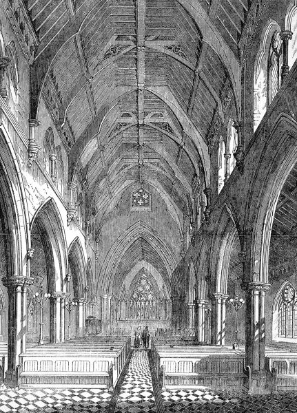 Engraving showing the nave of the Church of St. Matthew, Bedford New Town, in the parish of St. Pancras, London, 1856. The church was consecrated by the Bishop of London in December of that year