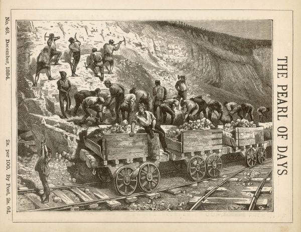 Navvies at work in a railway cutting