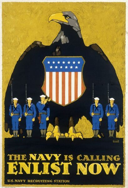 A recruitment poster for the US Navy during World War One, showing the American eagle flanked by sailors