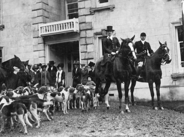 The opening meet of the Neauddfawr Foxhounds in South Wales. The MFH is a woman, Mrs Hughes, who is also churchwarden of Llanwnen Church