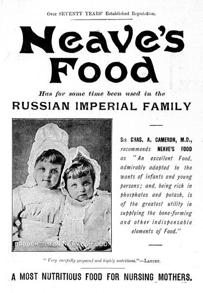 Advertisement for Neaves food, showing children from the Russian imperial family