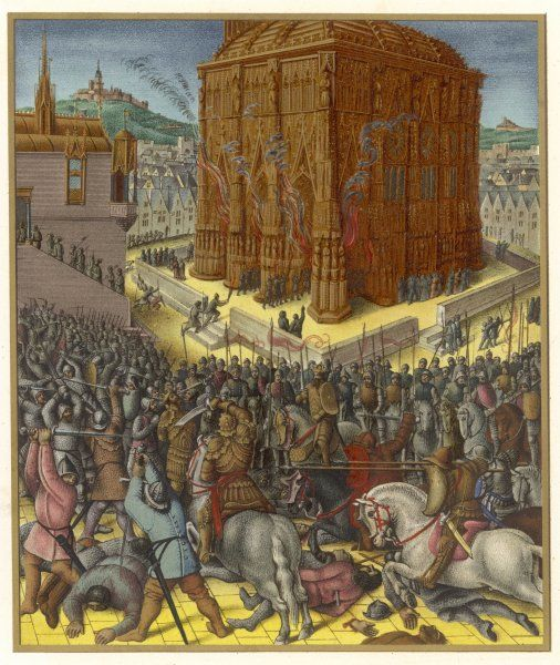 The Babylonian army of Nebuchadnezzar II attacks Jerusalem, sacking the city and taking the Jews into exile where they will be very unhappy