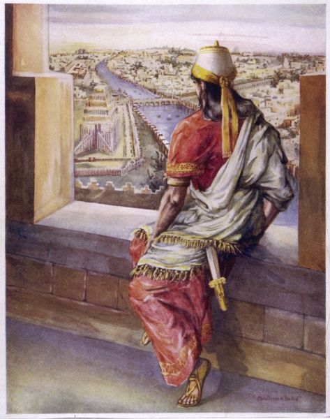 Nebuchadnezzar looks out from his palace and admires the magnificent city of Babylon which he has built