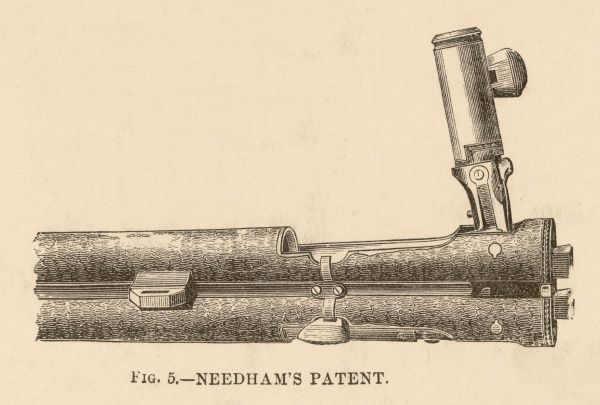 A view looking down on the loading mechanism of Needham's Patent rifle Date: 19th century