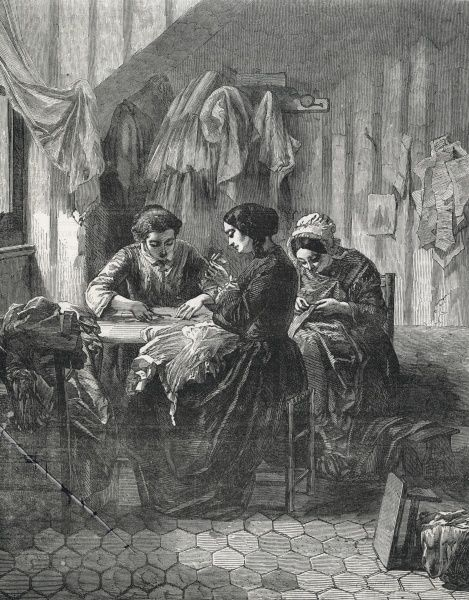 Three industrious needlewomen sit around a table sewing