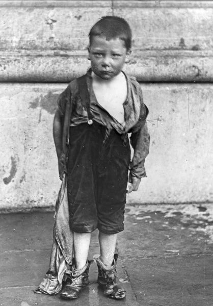 A neglected boy from a South Wales mining district. Images like this were copied by W E Jones for his father to use while campaigning for support for the Miners' Union