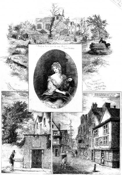 Engraved portrait of Nell Gwynn (1650-1687), the English actress and mistress of King Charles II, and two of the houses in which she lived