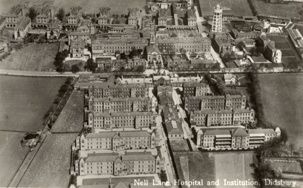 Aerial view of Nell Lane Hospital at Didsbury, near Withington, Manchester, opened in 1855 as Chorlton Union workhouse
