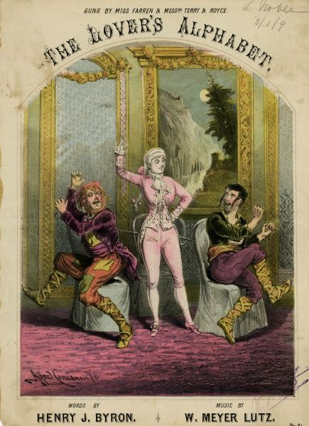 NELLIE (Ellen) FARREN Burlesque entertainer, specialising in the playing of boys' roles, seen here performing with Messrs Terry and Royce. Date: 1848 - 1904