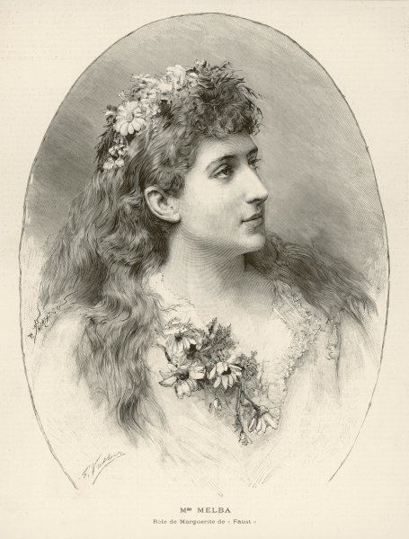 NELLIE MELBA (originally, Helen Porter Mitchell) Australian soprano in the role of Marguerite in Faust