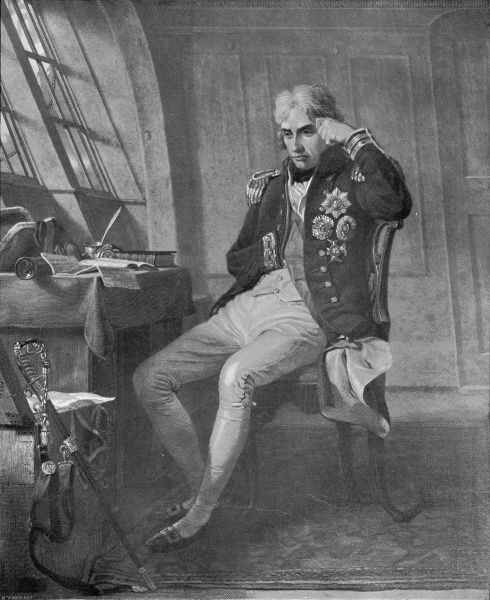 This is a painting of Nelson in his cabin. The attitude is characteristic of the Admiral who had periods of great despondency even in his hours of greatness and inspite of his many devoted friends he felt he was alone