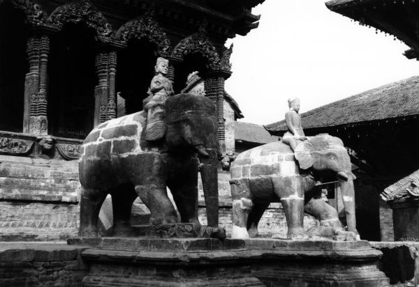 Temple at Patan, in the Kathmandu Valley. Date: 1992