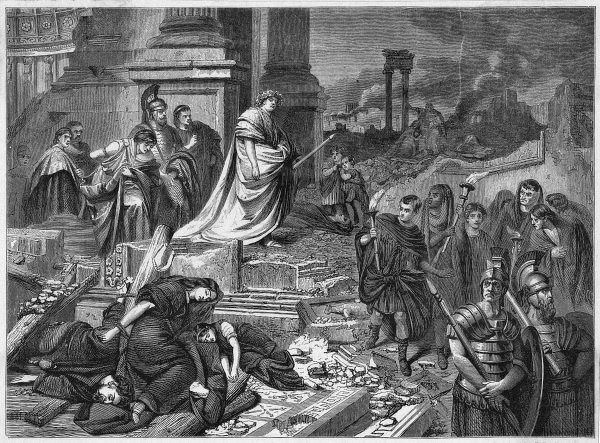 For 9 days Rome is ravaged by fire. Though Nero is not in Rome at the time, rumours accuse him of starting the fire and playing the cithara while it rages