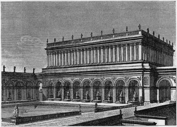 Reconstruction of the reservoir at the 'Golden Palace' of Nero in Rome