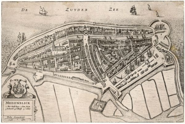 Plan of the town, on the edge of the Zuyder Zee, with its protective dyke and enclosed harbour