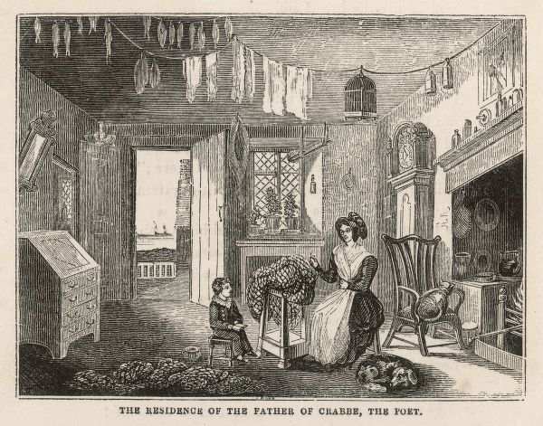 The interior of an East Anglian cottage (the family home of the poet Crabbe) - the mother engaged in netmaking, the dog in sleeping, the child in his schoolwork